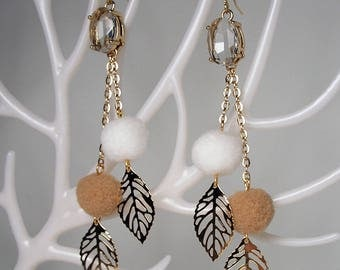 CRYSTAL Oval Pom-Pom Gold Leaf Earrings For Holiday Party Special Occasion