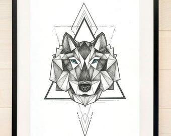 Geometric Wolf Print