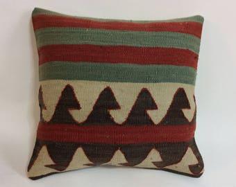"""Vintage Kilim Pillow Cover, 16"""" x 16"""""""