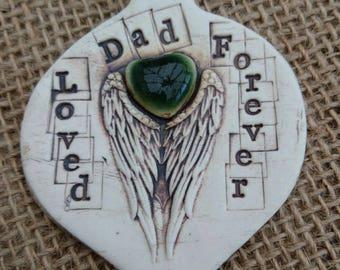 Handmade Ceramic Memorial Remembrance Hanging Plaque.
