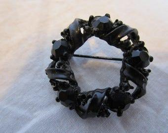 Vintage Black with Black Rhinestone Circle Brooch