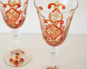 "Champagne Flutes, Wedding Toasting Glasses, ruby and silver, Royal Wedding, HAND PAINTED, Set of 2,stemwarethe, ""Red and Royal gold"""