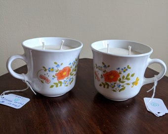 Set of Corelle by Corning Wildflower Pattern Tea Cup Soy Candles