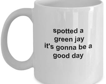 Bird Watchers Mug - Green Jay - 11 Oz Coffee Cup