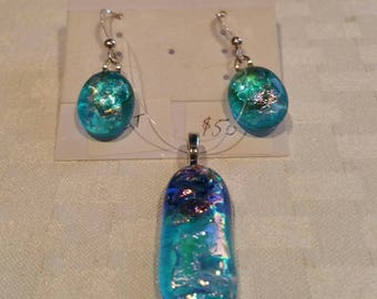 Aqua blue fused glass pendant and earrings set