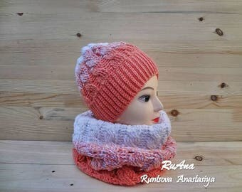 Knitted Cowl and Hat for Women Circle Scarf  Beanie Hat Cowl Set Winter Coat Fashion 2018 Tube Scarf Orange Beanie Cable Pattern Snood Set