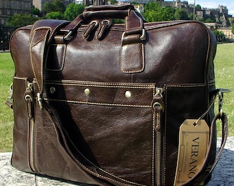 Italian Genuine Leather Briefcase Travel Flight Shoulder Laptop Bag Duffle Holdall Mens Birthday Gift Mocha Dark Brown Real Luxury Verano