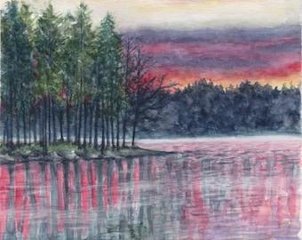Original watercolor painting - sunset
