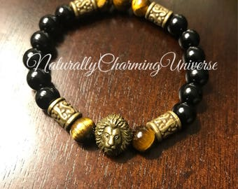 High quality Black agate, Tigers eye Lion healing bracelet!