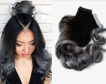 Balayage extensions etsy ready to ship 1b natural black ombre tape in human hair extensions charcoal gray balayage pmusecretfo Image collections