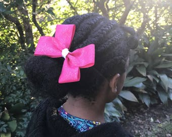 4 1/2 Inch Pink Glitter Pinwheel Hair Bow