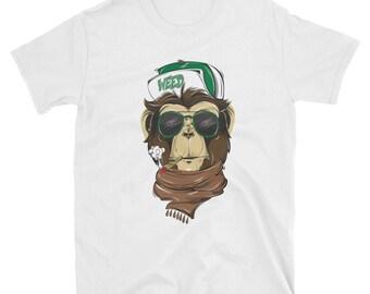 Weed smoking hipster monkey - short-sleeve Unisex T-Shirt