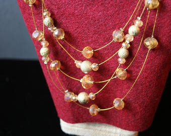 5 Strand floating amber crystal necklace