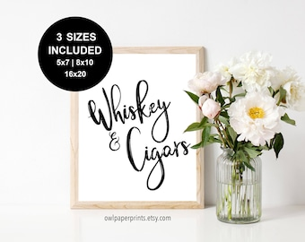 Whiskey and Cigars Sign - Printable PDF, printables, signs, drink, smoke, table, bar, station, party, wedding, event, bachelor, groom