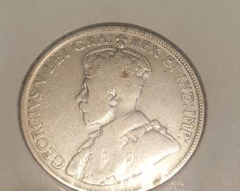 1929   Canada 50 cents silver Half Dollar