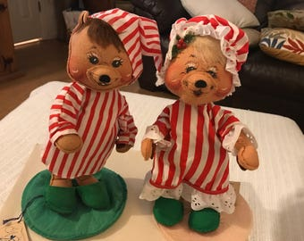 Handmade rare vintage annalee Christmas mice dolls from New Hampshire