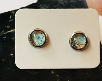 Blue and Peach floral stud earrings