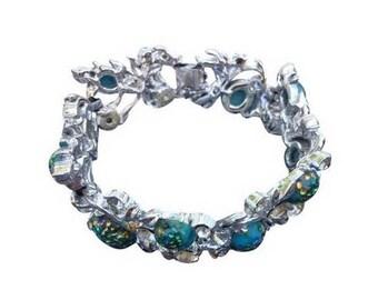 Vintage Coro Silver & Blue Stone Design Bracelet