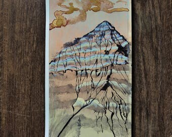 "Small Original Mixed Media Artwork On Paper - American Southwest Desert Landscape - ""Petrified Forest: Mountain's Pastel Stripes"""