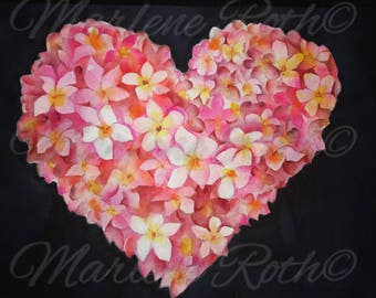 Plumeria Heart, Valentine's Day, Original Watercolor Giclee Print, Handmade