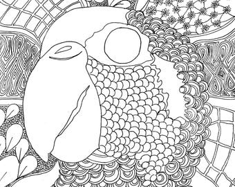 Hello Parrot Coloring Page, Adult Coloring Printable, Coloring Pages for Adults, Cayman Life + Art, Print PDF Download