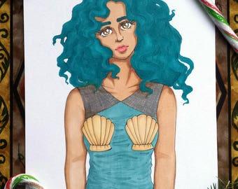 Modern Mermaid *ORIGINAL* Drawing