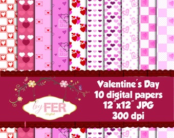 Valentines Day Digital Papers
