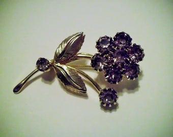 Amethyst Gold Tone Flower Brooch