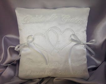 Wedding Ring Cushion, Personalised Ring Bearer Pillow, Bridal Accessory, Bridal Keepsake, Hearts, White or Ivory, 7 inches, RC-4