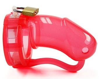 BON4L Male Chastity Device Silicone Transparent Red