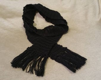 Black vintage yarn fringed scarf