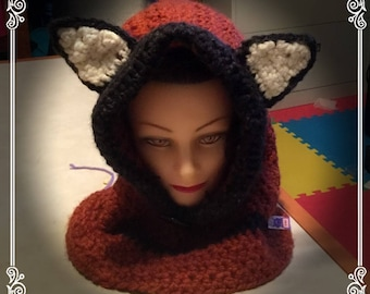 Red fox hooded cowl