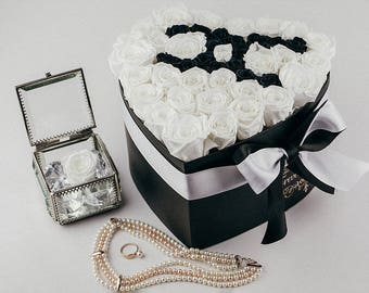 Chanel Inspired Preserved bouquet of Roses that last a year,Box of Roses,Forever Rose,Rose Bouquet,Luxury Roses,Beauty and the beast Rose
