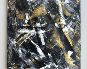 Black, White and Gold Original Abstract Art Painting on Canvas | 20 x 20