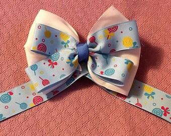 "Toddler Bow, Blue Hair Bow, Fancy Bow, Girls Hair Bows, Boutique bow, White Bow, Girls hair bow,  Overstacked Bow, Pinwheel Bow, 4 1/2"""