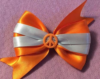 Boutique Bow, Stacked Boutique, Fancy Bow, Orange Barrette, Easter Bow,  girls barrette, layered over the top, Orange and White, 4 1/2""
