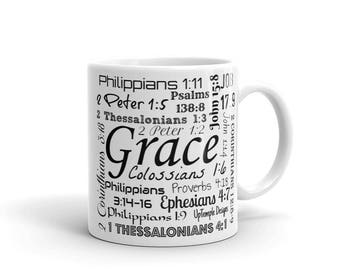 Grace Mug with Scriptures relating to Grace