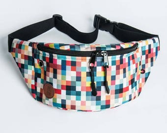 pixels fanny pack, bum bag, hip pouch, handmade, slow fashion, zala szyje