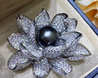11-12mm Rare Green OR Peacock Natural Tahitian Pearl Lotus Cubic Zirconia Brooch, Genuine Tahitian Pearl Brooch, Rhinestone Flower Brooch