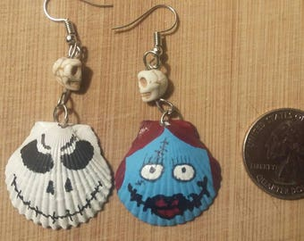 Real seashell hand crafted and hand painted Jack and Sally earrings.