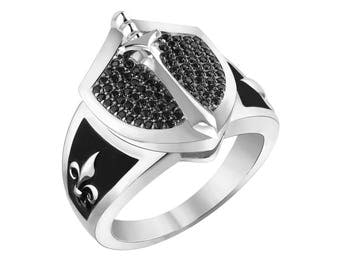 Knight in the Shining Armor Sterling Silver Ring with Black Spinels and Black Enamel