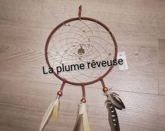 Dream catcher 20 cm diameter chocolate with the tree of life in the Center