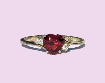Belle 925silver Gold-plated with heart-shaped garnet and Circonia