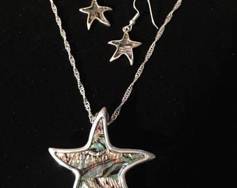 Sterling Silver Star Fish With Abalone Stones Necklace And Earring Set