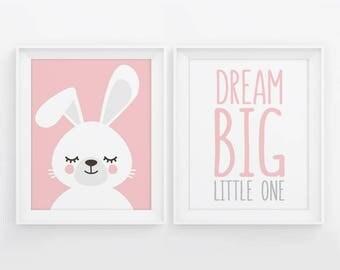 PRINTABLE Nursery Decor. Set of 2 Posters Baby Girl Room Wall Art. Pink Dream Big Little One - Sleepy Bunny. Animals Sleeping Digital Prints