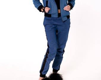 Womens denim jeans. Women's denim suit. Denim Jeans trousers.Elastic band jeans. Slim jeans. Narrowed to the bottom jeans
