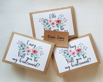Personalised Will you be my bridesmaid card with envelope
