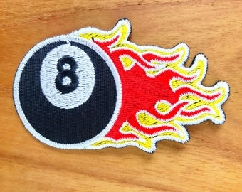 8 Eight Ball Billiards Pool Snooker Embroidered Applique Iron on Patch