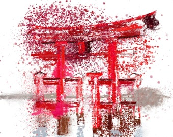 Digital Painting/Abstract Painting/Floating Gate/Japan/Digital Print/Instant digital download
