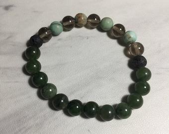 Jade, Turquoise & Smoky Quartz Stacker
